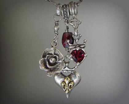 Triple Charm Necklace with Garnets, Silver & 18k Gold Fleur de Lis
