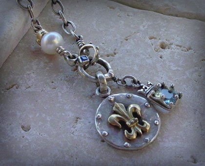 Sterling Silver Fleur De Lis Medallion & Crowned Blue Topaz with Pearl Necklace