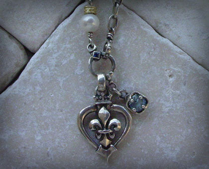 Sterling Silver Heart Shaped Framed Fleur De Lis Necklace with Blue Topaz & White Pearl