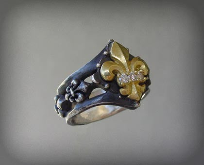 Gold Fleur De Lis Diamond Antiqued Silver Ring