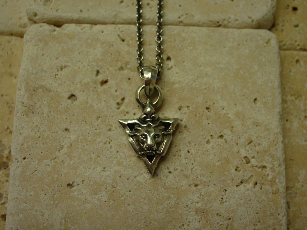 Sterling Silver Lion In Victory Triangle with Fleur De Lis Necklace
