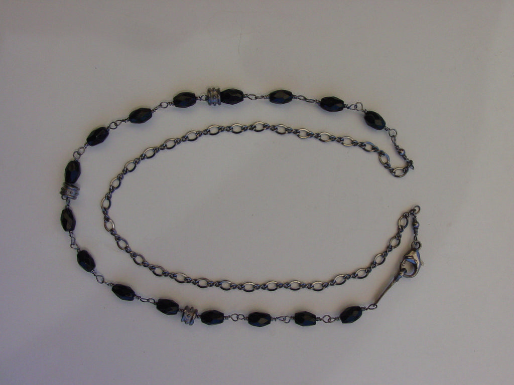 Black Platinum Plated Silver Anklet by Roman Paul