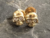 Earrings - 18k Gold Skulls & Diamonds by Roman Paul
