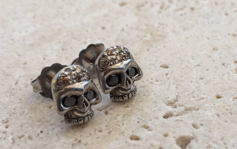 Earrings - Diamond Sterling Silver Skull Studs