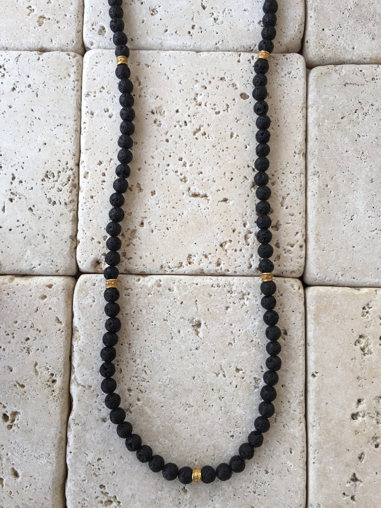 Necklace - Black Lava Beads Bronze Roundels