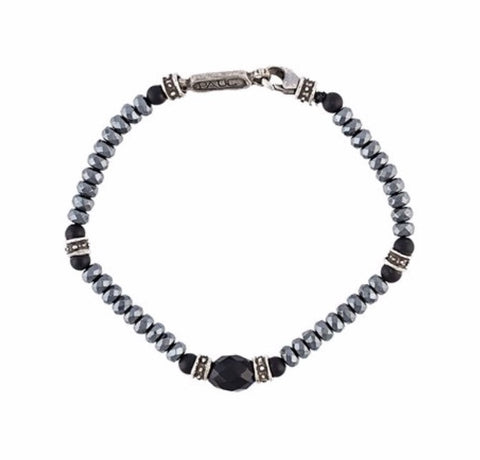 Bracelet - Onyx with Hematite and Silver Roundels