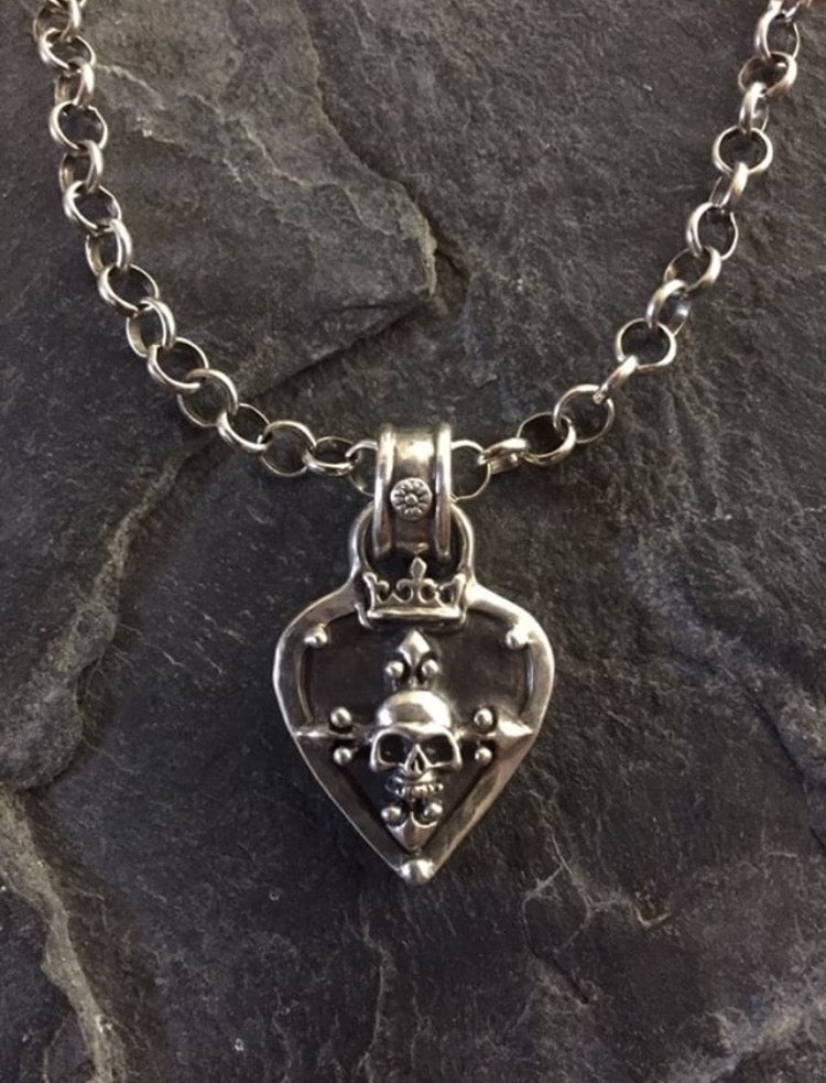 Necklace- silver guitar pick with skull by Roman Paul