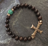 Bracelet - Bronze cross & Turquoise w Eboney
