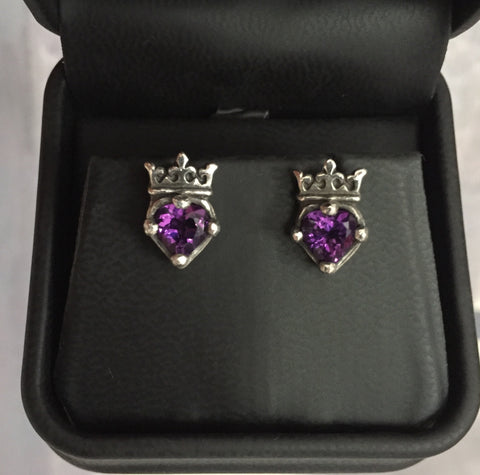 Earrings - Amethyst Crowned Hearts