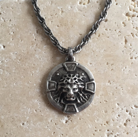 Necklace - Silver Lion Medallion