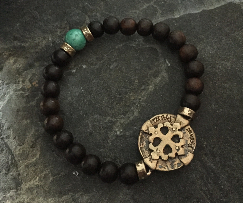 Bracelet - Bronze Cross Medallion  & Turquoise by Roman paul