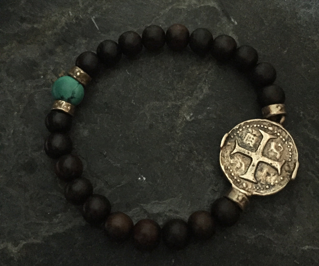 Bracelet - Bronze Medallion Cross & Turquoise Stretcher by Roman Paul