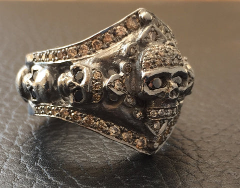 Silver Skull Ring w Diamonds