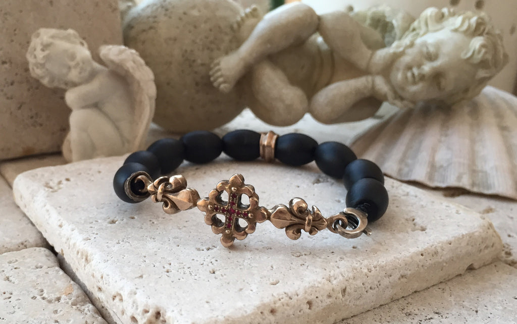 Bracelet - Bronze Fleur De Lis Cross with Rubies