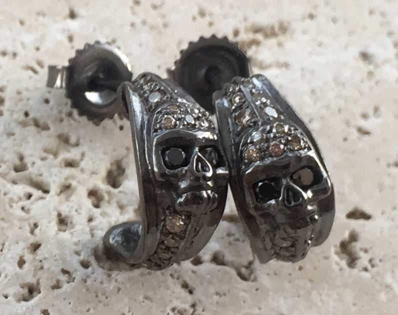 Earrings - Diamond Skull Hoops by Roman Paul