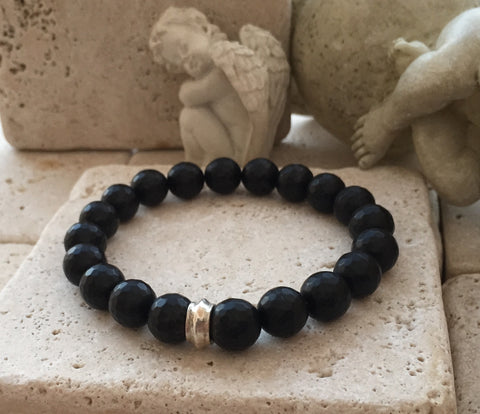 Onyx Stretcher Bracelet with Silver Rondel