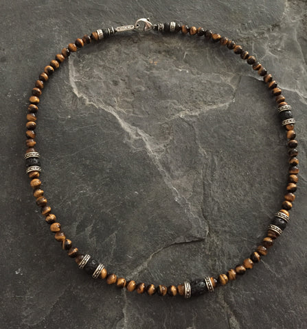 Necklace - Tiger Eye With Silver Roundels