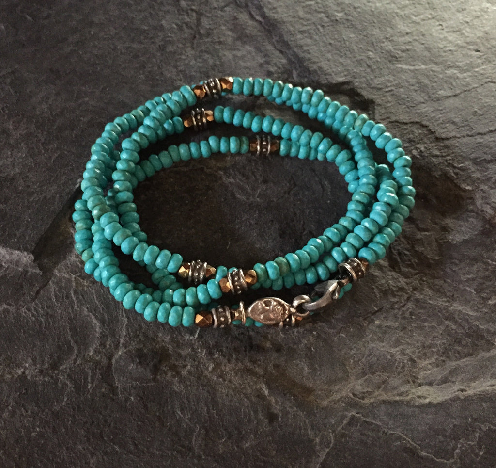 Bracelet - Blue Magnesite and Silver Roundels by R.Paul