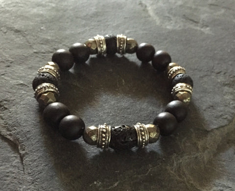 Bracelet - Lava, Pyrite & Silver Roundels with Ebony Wood