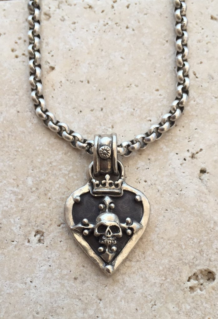 Kenny Chesnay Silver Guitar Pick with Skull Necklace by Roman Paul