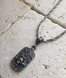 Sterling Silver Skull & Crown DogTag with Diamonds