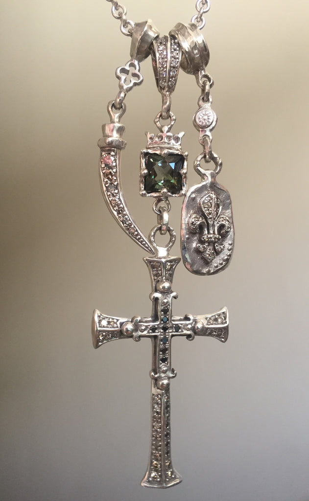 Necklace - Diamond Cross Triple Charm