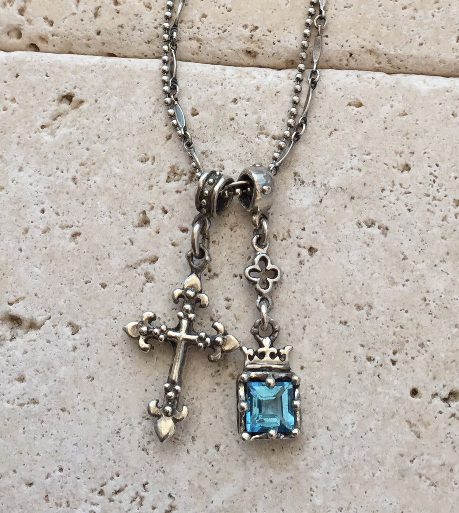 Sterling Silver Cross and Blue Topaz by Roman Paul