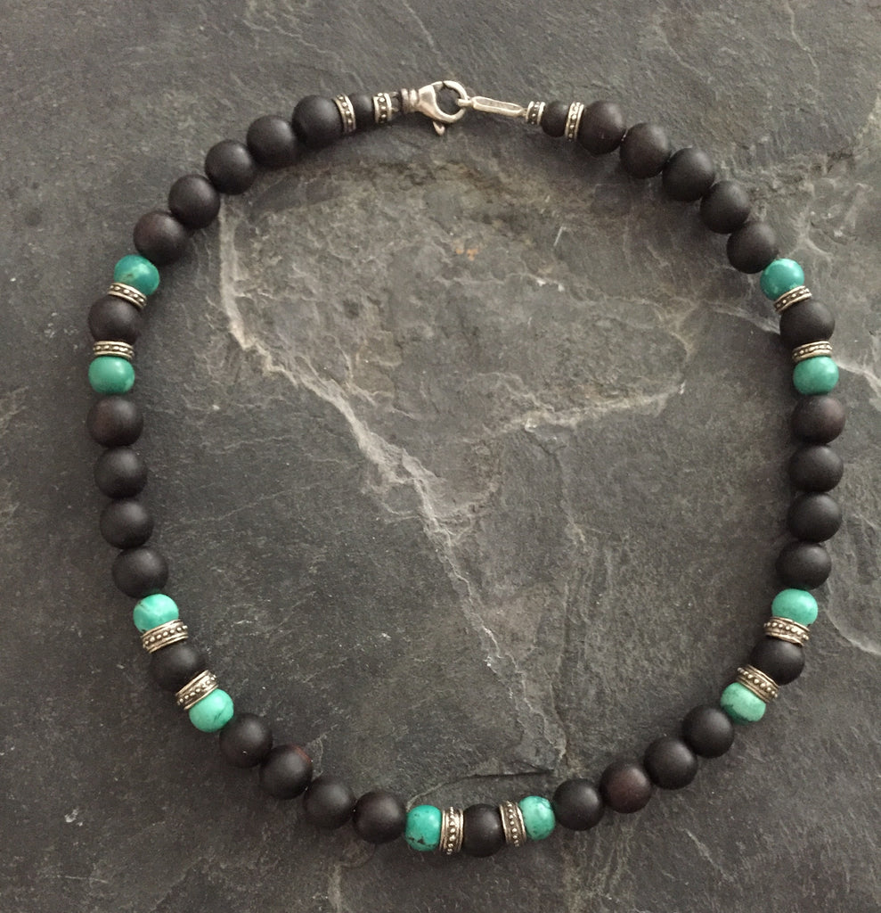 Necklace - 10mm Turquoise and Ebony Beads