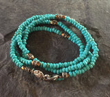 Necklace - Sterling Silver Roundels & Blue Magnesite by roman paul