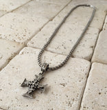 Sterling Silver triple cross with diamonds
