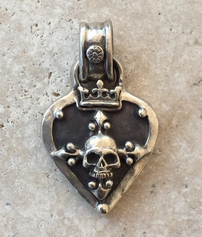 Sterling Silver Skull Guitar Pick Pendant (Kenny C. favorite)
