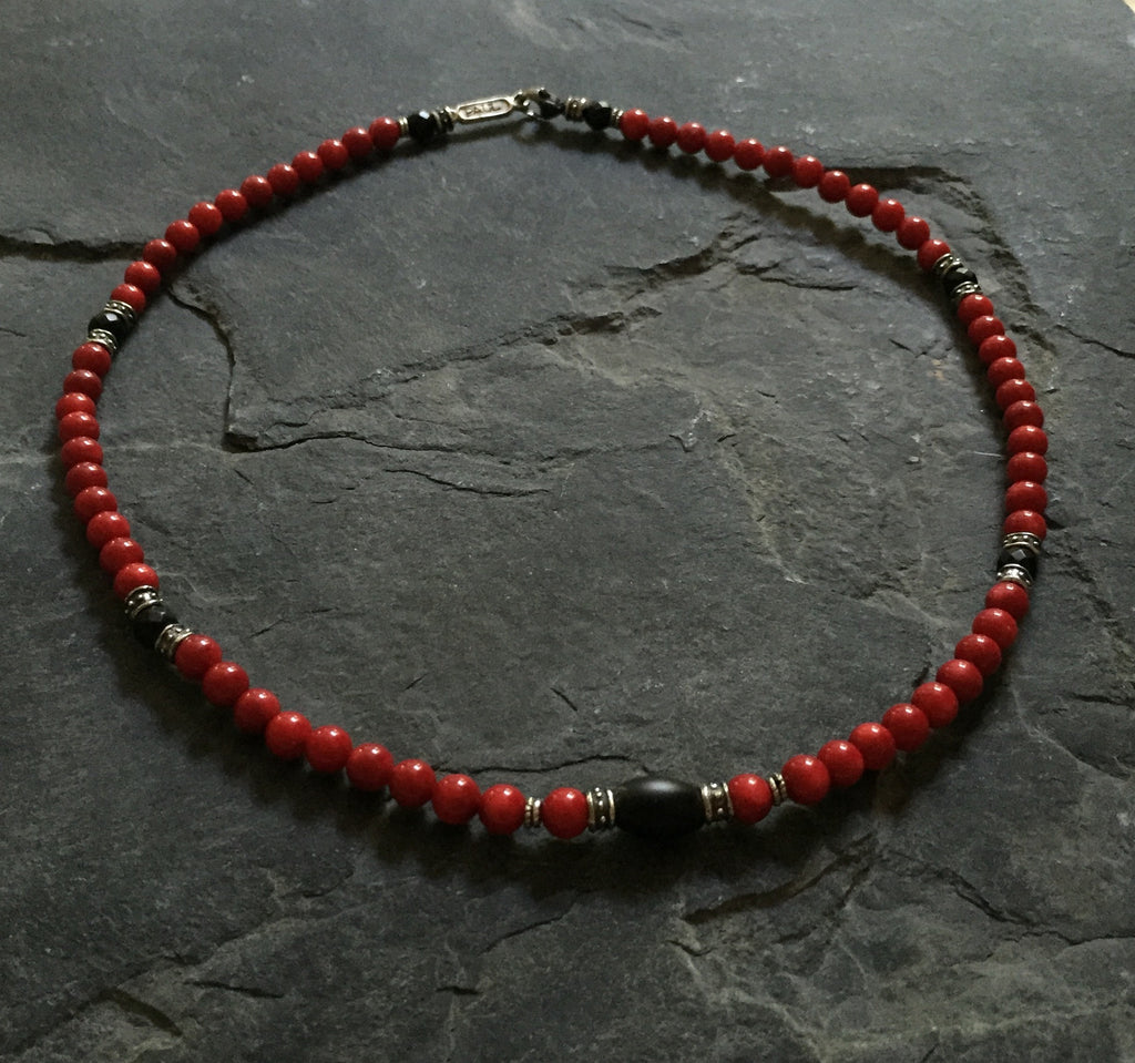 Necklace - Red Coral & Onyx With Silver Roundels by Roman Paul