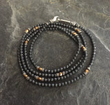Black onyx and Metal Coated art Beads by RP