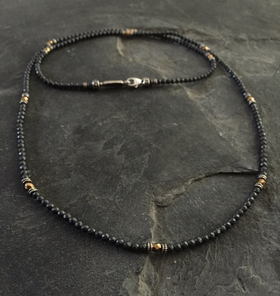Black onyx and Metal Coated art Beads by Roman Paul