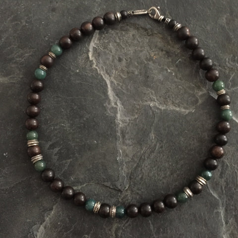 Necklace - Green Agate and Ebony