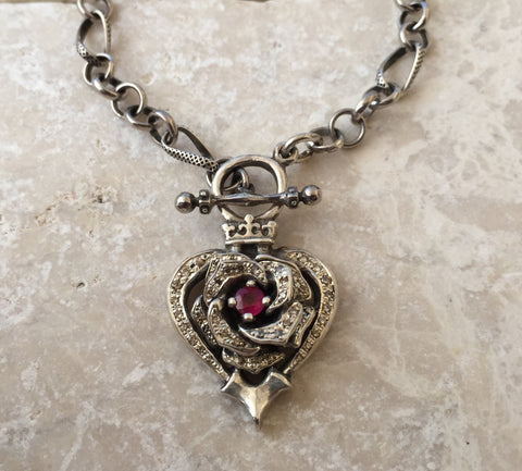 Necklace - Diamonds and Ruby Rose Heart