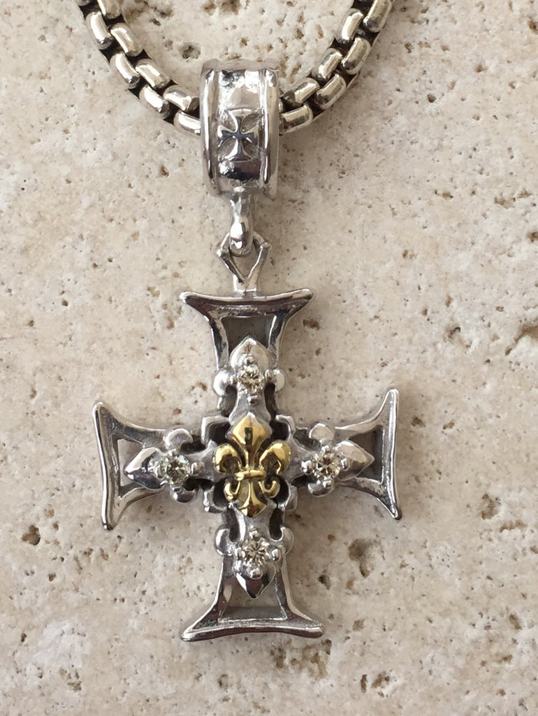 Sterling Silver Cross Fleur de lis 18k Gold & Diamonds
