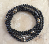 Bracelet - Multi Wrap Onyx and Golden Hematite