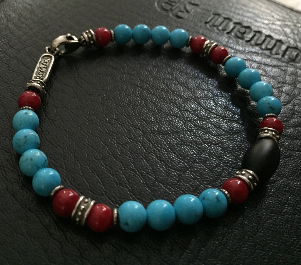 Bracelet - Silver Roundel & Blue Magnesite and Coral by Roman Paul