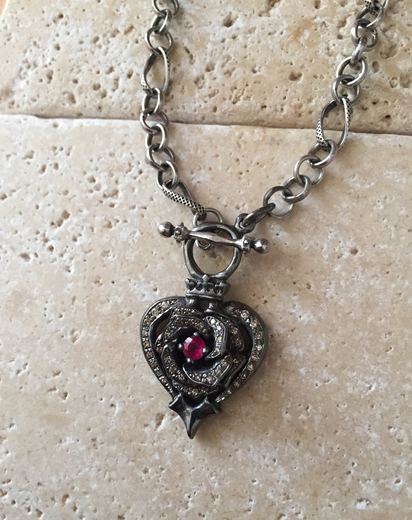 Necklace - Black Platinum Rose Heart