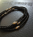 Bracelet - Multi Wrap Onyx and Golden Hematite by Roman Paul