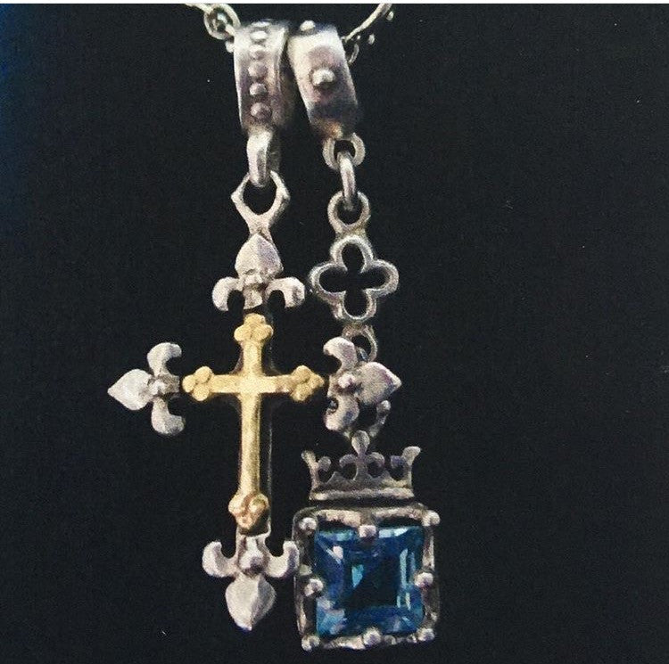 Cross Necklace w Topaz in Crown Frame by Roman Paul