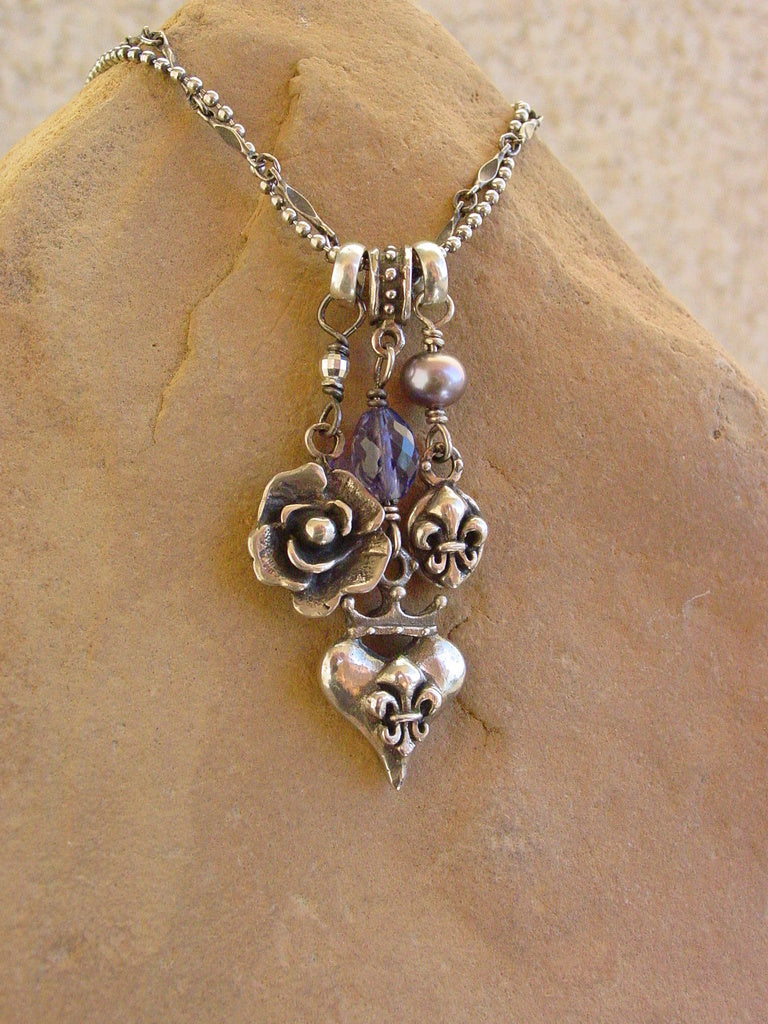 Sterling Silver Tripple Charm Necklace, Iolite & Black Pearl