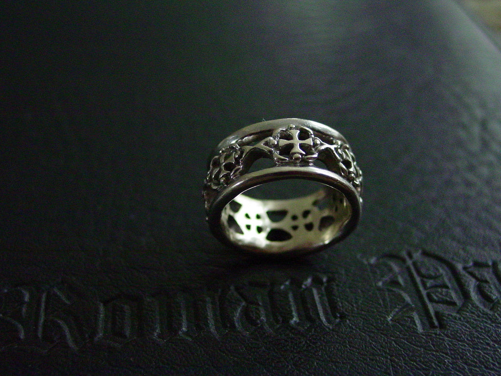 Sterling Silver Knights Templar Crosses Men's Wedding Ring