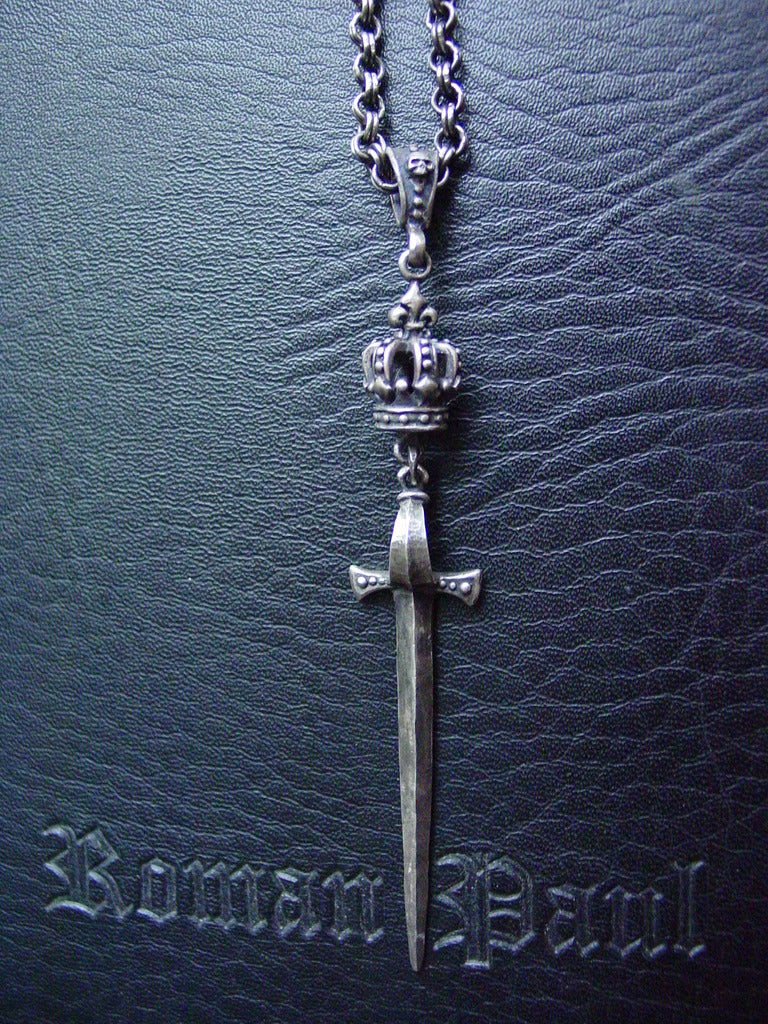 Sterling Silver Sword & Crown Necklace with Skull Bail