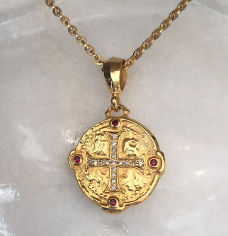 Necklace - Ancient Cross Medallion with Diamond & Rubies