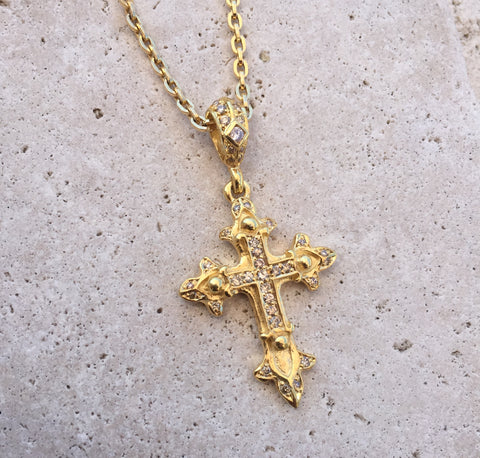 Necklace - Golden Double Cross with Diamonds