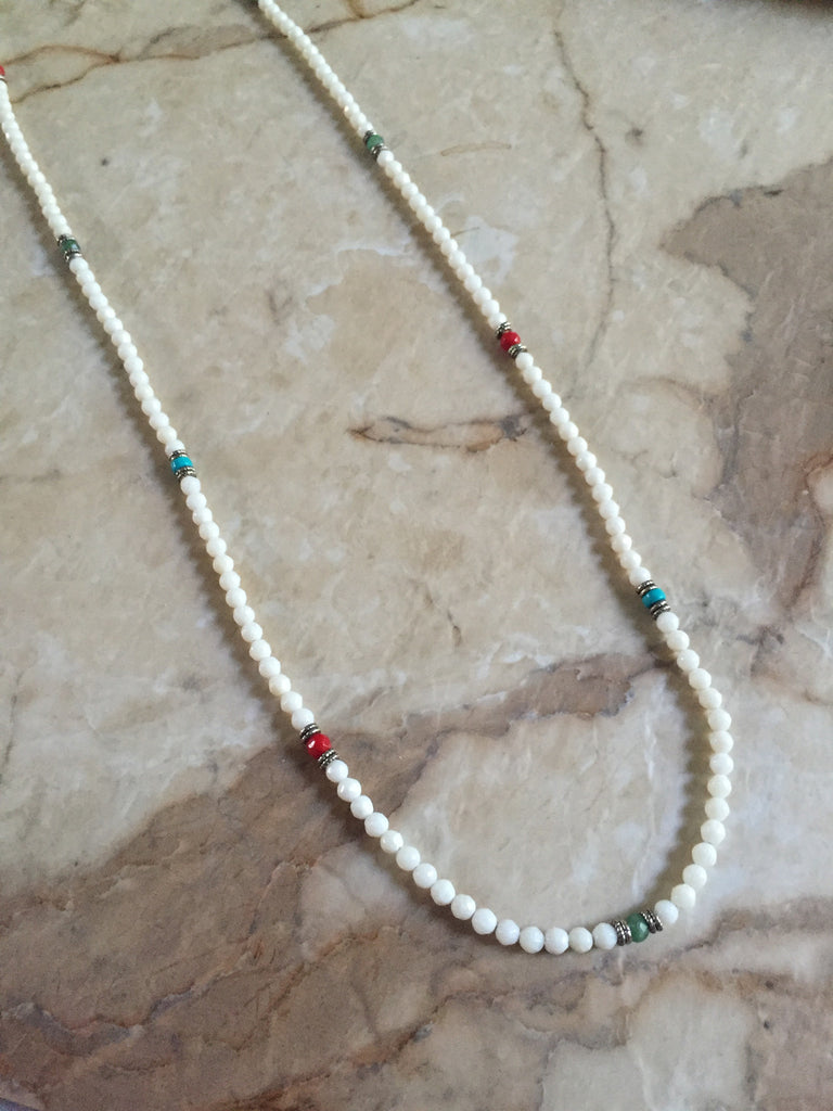 Necklace - White Coral and Color Minerals