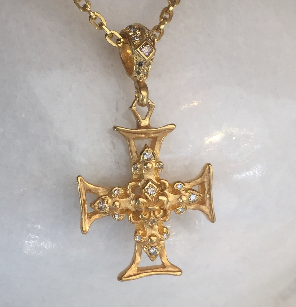Necklace - Golden Fleur de Lis Cross with Diamonds by Roman Paul