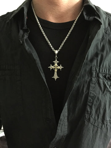 Platinum Over Silver & Gold Gothic Cross